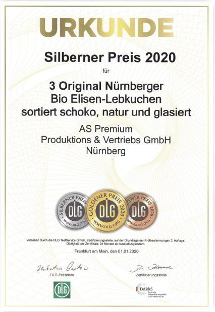 2020-Urkunde-DLG-Praemierte-Spitzenqualitaet-Silberner-Preis-3er-Nuernberger-Bio-Elisen-Lebkuchen-AS-Premium